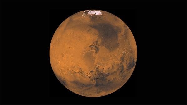 Imagem de Marte com uma calota de gelo no polo norte