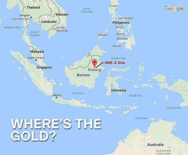 Mapa da localização da suposta descoberta de ouro de Bre-X em Bornéu, Indonésia.