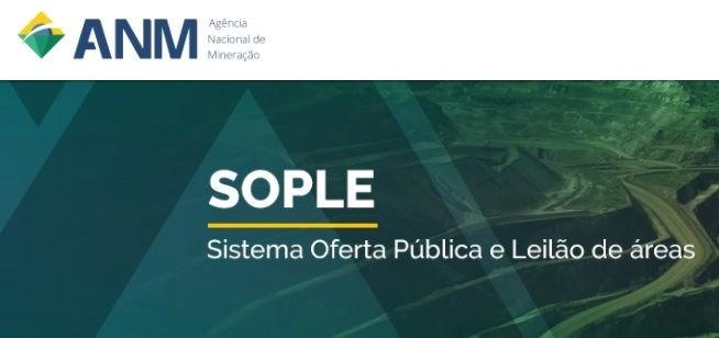 Sistema de Oferta Pública e Leilão Eletrônico da ANM. SOPLE. Leilões de disponibilidade