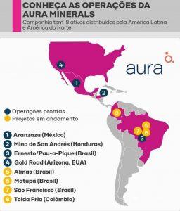 Operações da Aura Minerals no continente americano