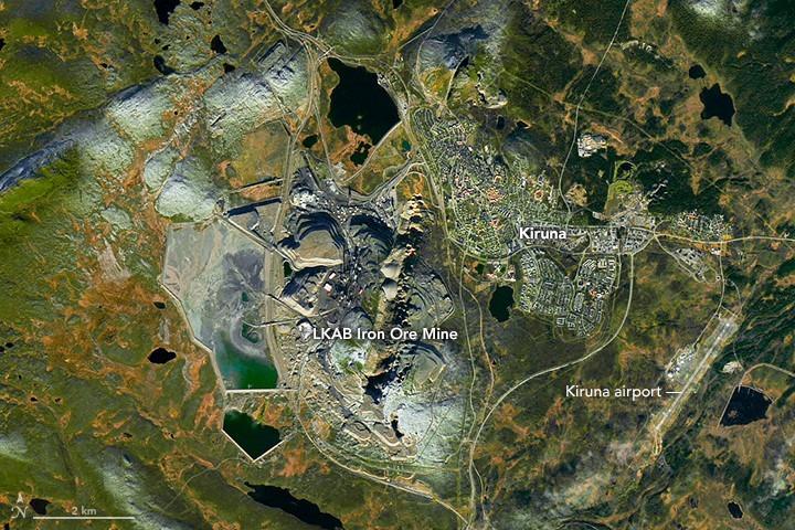 Kiruna, maior mina subterrânea de ferro.